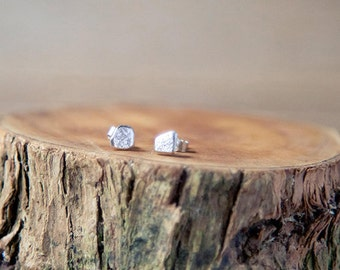 Silver stud earrings, Irish, handmade, small unique jewellery, tiny jewelry
