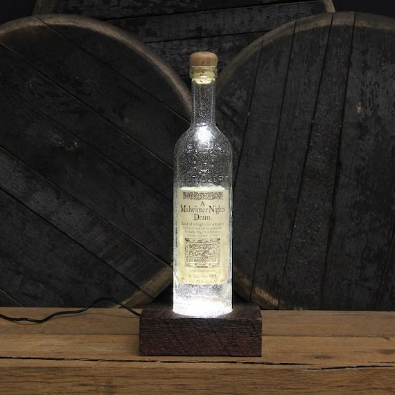 Midwinter Nights Dram Whiskey Light / Reclaimed Wood Base & LED Desk Lamp / Handmade Tabletop Lamp / Upcycled Bourbon Bottle Lighting