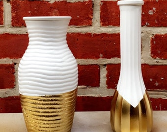 Milk colored, gold accented vases, Set of 2