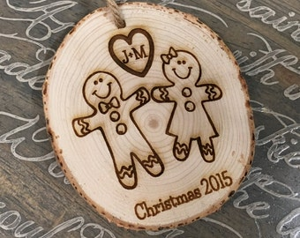 Personalized Gingerbread Ornament, Personalized Couples Ornament, Gingerbread Lovers, Engraved Ornaments, Couples Gift, Wedding Gift