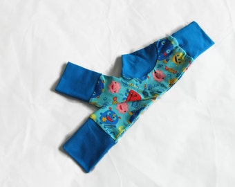 Baby - Kid Leggings - Grow With Me Pants - Cloth Nappy Clothes / Cloth Diaper Pants - Blue Monster Toddler Trousers - Handmade Kids Clothes