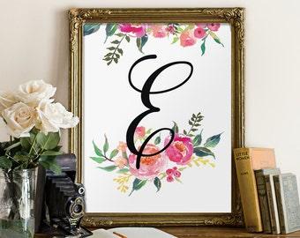 Floral monogram, nursery decor, personalised baby gift, nursery letters for girl, nursery art, nursery wall letter nursery room decor BD-445