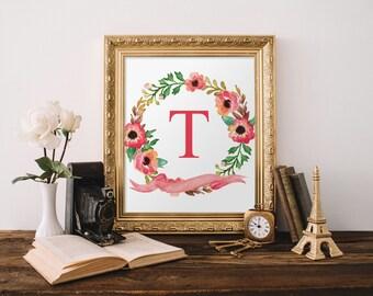 Monogram letters, Nursery decor, Printable letters, Monogram letters for nursery, Floral letter nursery, Monogram print, Nursery initial 482