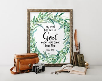 Scripture art, Bible verse for encouragement, Typography print, Printable verse, Scripture printable Scripture wall art Psalm 62:5 BD1019