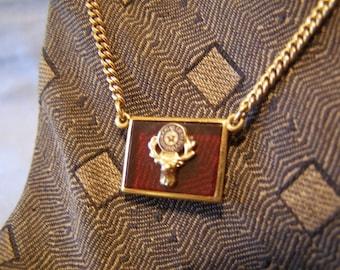 ELKS Fraternity Tie Chain w Masonic BPOE Fraternal Order Elk Clock on Red Lucite Pendant - 12k gold fill Finish vintage New Old Stock gift