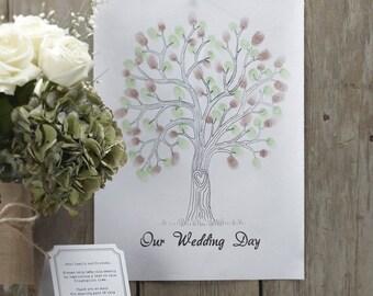 Green Finger Print Tree - Wedding Guest Book Alternative