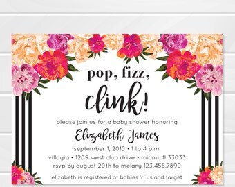 Floral Baby Shower Invitation, Black and White Stripes, Kate Spade