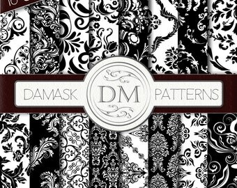 Black and White Damask Digital Paper - Instant Download! Scrapbooking, Scrapbook, Pattern Background, Digital Scrapbook Paper