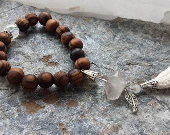 mala bracelet ~energy amplifier ~ quartz crystal