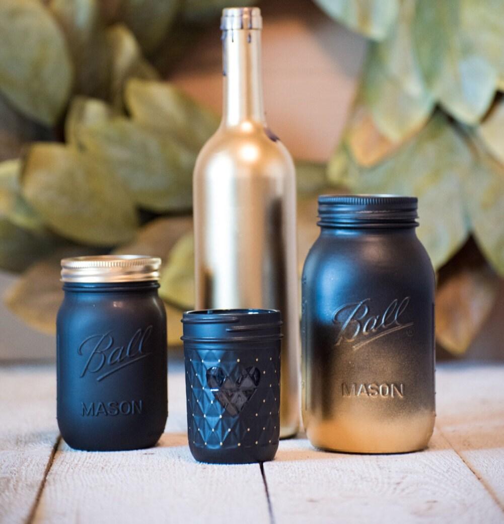 Mason jar wine bottles wedding centerpiece gold by for Gold wine bottle centerpieces