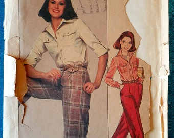 """Vintage 1977 shirt, pants, trousers sewing pattern - Simplicity 8159 - size 8 (31.5"""" bust) - 1970's"""