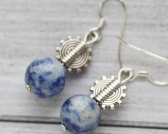 Blue spot jasper earrings, sterling silver ear wires, blue stone earrings