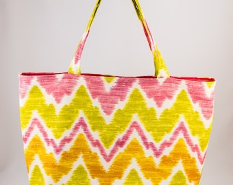 Shopping bag, Market bag, Tote bag, Washable tote, Chevron, Orange, Green, White, Pink