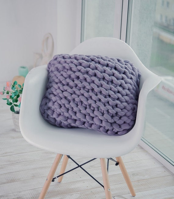 Chunky Knit Pillow Pattern : Chunky Knit Pillow Wool Knit Pillow Decorative Pillow Cozy