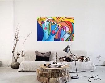 "Women, original acrylic painting 36"" X 24"" X 0.5"" app."