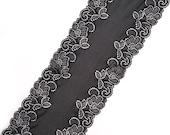 Black stretch lace, black lace trimming, scalloped wide black lace, wide lace trim, width 7.28 inch, lace 18.5 cm, lace per meter, Nr.1223