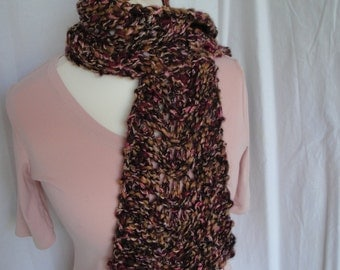 chunky lace scarf, purple plum muffler, lace-knit tippet, wool-mix neck-warmer, autumn tones scarf, plum multi scarf, open-knit muffler