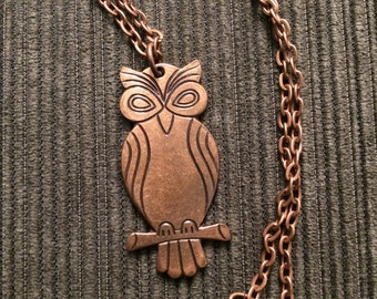 Antique Copper Owl Pendant Necklace