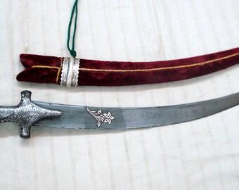 damascus steel blade knife dagger sword silver bidaree work on hilt