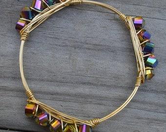 Rainbow Crystal Bangle, Crystal Bangle, Rainbow Crystal Bracelet, Crystal Bracelet