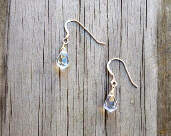 Teardrop Clear Iridescent Crystal Earrings, Crystal Earrings, Dainty Crystal Earrings, Clear Earrings