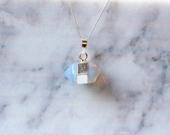 Sterling Silver Wrapped Opalite Hexagon Long Pendant Necklace with Extra Fine Sterling Silver Chain