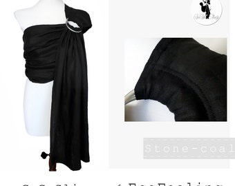 Black Linen Baby Ring Sling GuGaSling Stone-coal, Baby carrier, Baby wrap, Adjustable sling, Baby Shower Gift, Gift for new moms, Gift bag