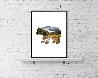 Bear Print - Animal Print - Nursery Bear Print - Wilderness Wall Art - Bear Art - Woodlands decor - Forest Print - Mountain Print - Nursery