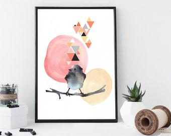 Watercolor bird art print, geometric wall art, modern poster, home wall decor, apartment wall art, gift, bird illustration, animal print