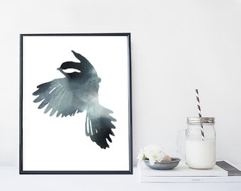 Bird wall art print, watercolor nature poster, home wall decor, apartment wall art, modern minimal, simple illustration, animal painting