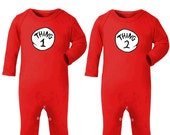 Thing 1 & Thing 2 Twins Costumes Playsuits - 4 Piece Set
