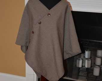 Brown Houndstooth Poncho