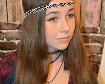 Black and White Braided Ribbon Headband