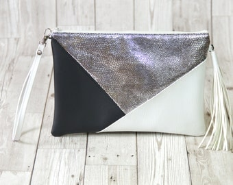 Silver clutch bag, Black clutch leather, Vegan leather clutch purse, Tassel clutch white, Wedding clutch bridesmaid gift, Leather wristlet