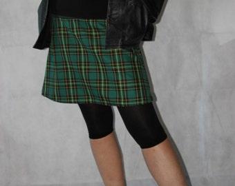 checkered green mini skirt plaid skirt tartan skirt