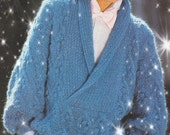Instant PDF Download Vintage Row by Row Knitting Pattern A Ladies Aran Inspired Chunky Long Sleeve Deep Shawl  Neck Sweater Pullover Jumper