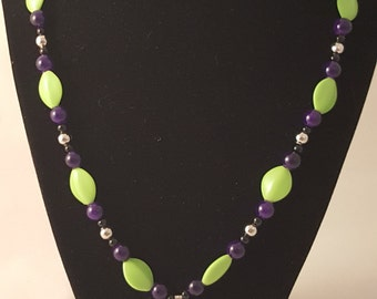 Lime Green Acrylic Bead - Purple Round Glass Bead - Black Glass Pearl - Round Silver Plated Bead - Purple Flower Pendant