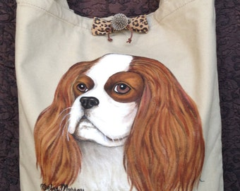 Cavalier King Charles Spaniel Handbag, Shoulder bag, Hand painted Handbag, Dog Art bag, Travel bag, Carry bag, Dog lovers bag, Handmade,