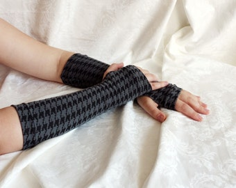 Black grey pattern armwarmers fingerless gloves