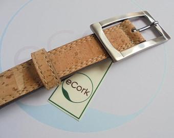 "Cork Belt, Woman Cork Belt, Cork Belt 1"", Handmade Cork Belt, Steel Buckle, Women Belt, Leather Belt, Cork Gift, Nature Cork, Ecologic Cork"