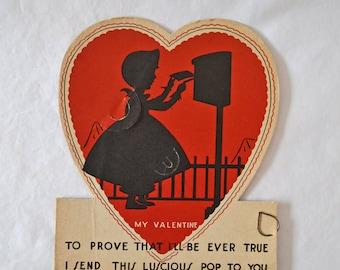 Vintage Children's Lollipop Valentine Silhouette 1940's E Rosen Child's Valentine