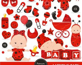 Ladybug baby clipart commercial use, ladybug baby shower clipart, ladybug baby clip art, ladybug clipart - CA252