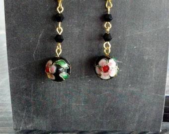 Cloisonne/Enamel Metal Flower Bead Earrings