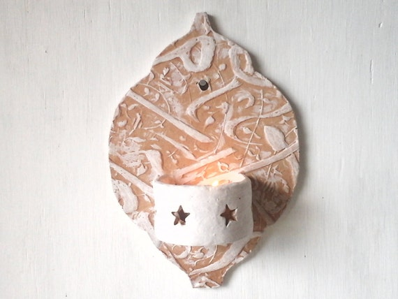 Moroccan Ceramic Wall Lights : Moroccan style ceramic wall sconce small tea by LouiseFultonStudio