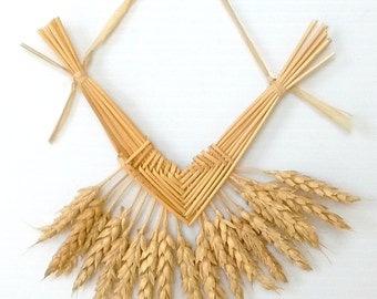 Wall Decor - Wheat Weaving - Corazon de Trigo - straw art - corn dolly - rustic - house blessing, housewarming, boho, folk art, wiccan