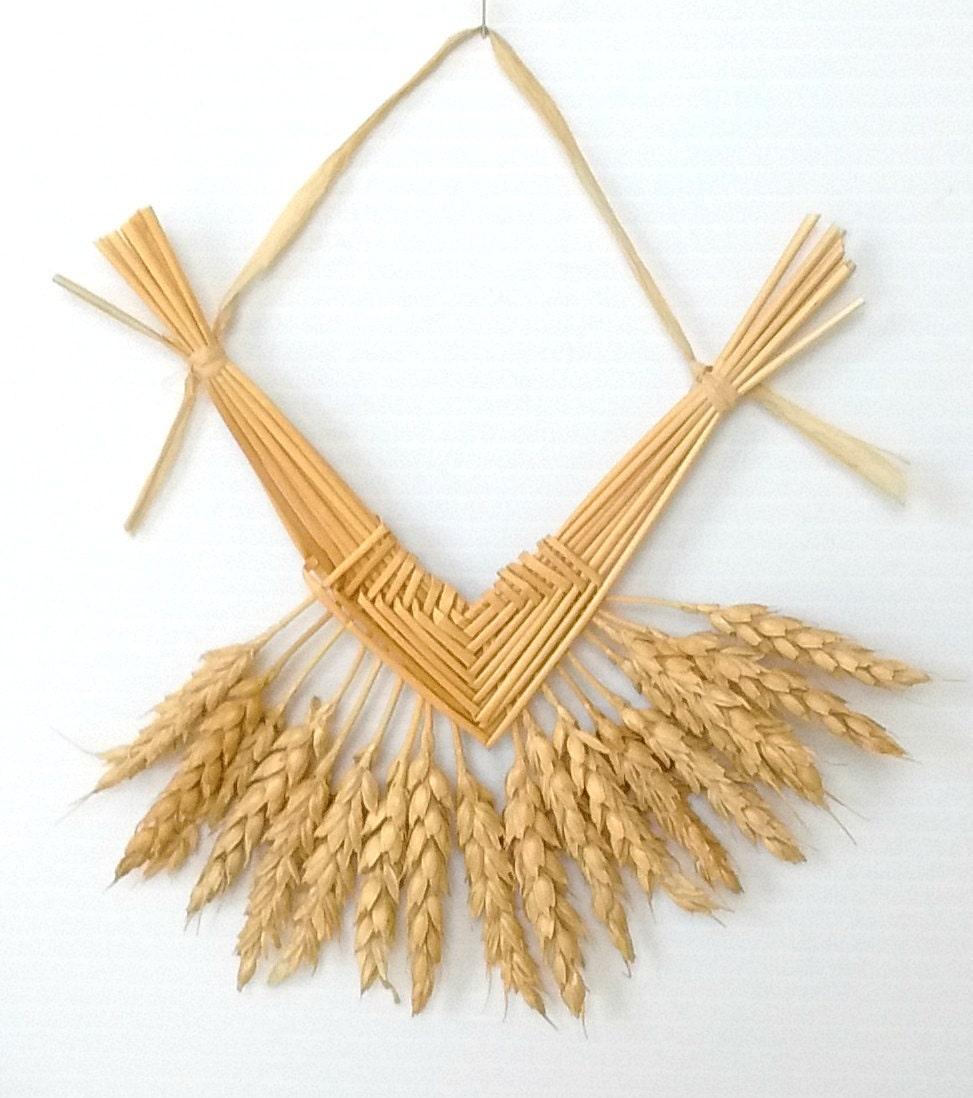wall decor wheat weaving corazon de trigo straw art. Black Bedroom Furniture Sets. Home Design Ideas