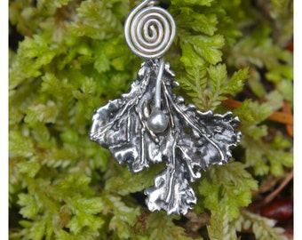Fine Silver Moss Pendant, Clubmoss with Fine Silver Wrap and Spiral Pendant. Fine Silver PMC3 Clubmoss Spikemoss Pendant with Spiral