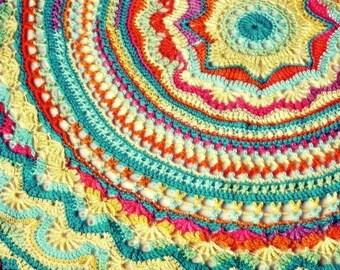 Rainbow Mandala Crochet Blanket 48 Inch Diameter Doily Style Throw, Global Folk Style, Bright Woven Afghan, Meditation Mat, Boho Decor