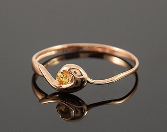 Citrine ring, Solitaire ring, Gold solitaire ring, Gold citrine ring, Birthstone ring, Gemstone ring, Rose gold ring, November birthstone
