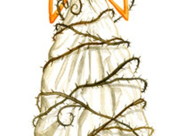 "Halloween Bride 17"" x 5.5"" Signed Watercolor Art Print by Rhode Montijo"